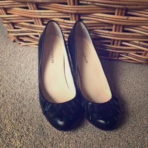 Black Ann Taylor Heels with Ruffle Detail